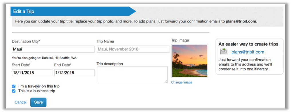 edit trip itinerary on our website tripit help center