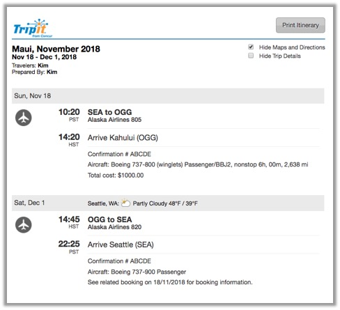 print your itinerary tripit help center