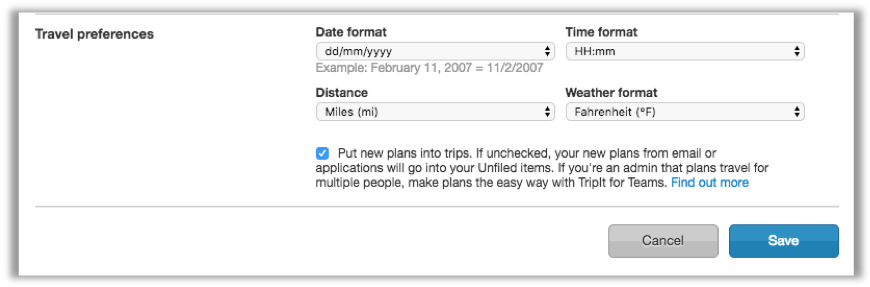 Date, time, distance, weather format – TripIt Help Center